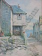 LOUIS MORTIMER: Watercolour, Cornish fishing village view towards the harbour, signed, 14 x 10in