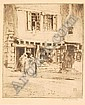 PERCY LANCASTER (1878 - 1951): Etching, Dutch women outside shop, signed in pencil, original gallery label verso, 8in. x 6.75in.