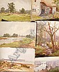 HERBERT WILSON FOSTER Exh. 1881 - 1917: Folder of unframed Watercolours - rural scenes (6)