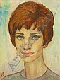 ALEX PORTNER: Oil on Canvas, Head & shoulders portrait of Sophia Loren, c. 1960s, signed with monogram, 18in x 14in, Alex  Portner, Click for value
