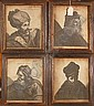 A set of 4 early 18th century engravings, portraits of historical figures, in original moulded stain wood frames, 8.5in x 7.25in.