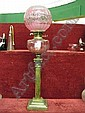 Victorian brass Corinthian column oil lamp with cranberry glass font & etched globular cranberry glass shade, 28 high