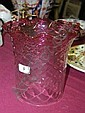 Antique cranberry glass shade with wavy rim & moulded diamond pattern, 8.5in high
