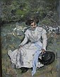 Victorian oil on canvas - Portrait study of a young woman in a long white dress sitting on a grassy bank on a Summer day unsigned 27in X 20 the