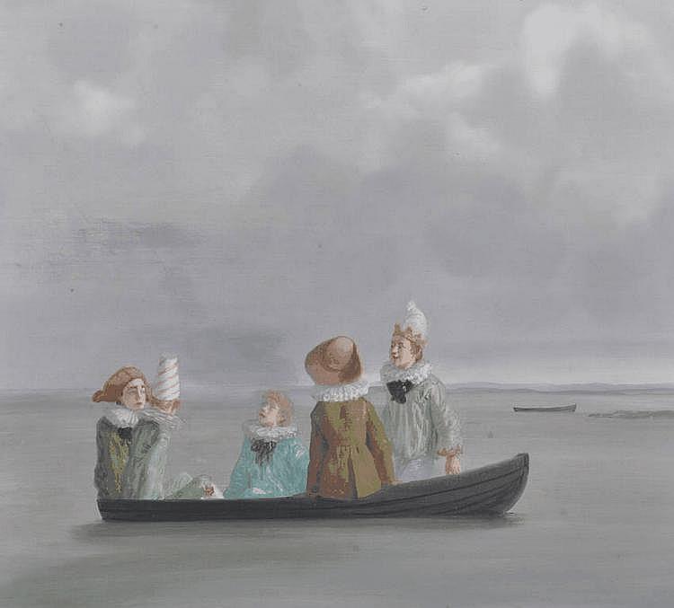 Claude Harrison oil on board, Green Boatmen 1982,