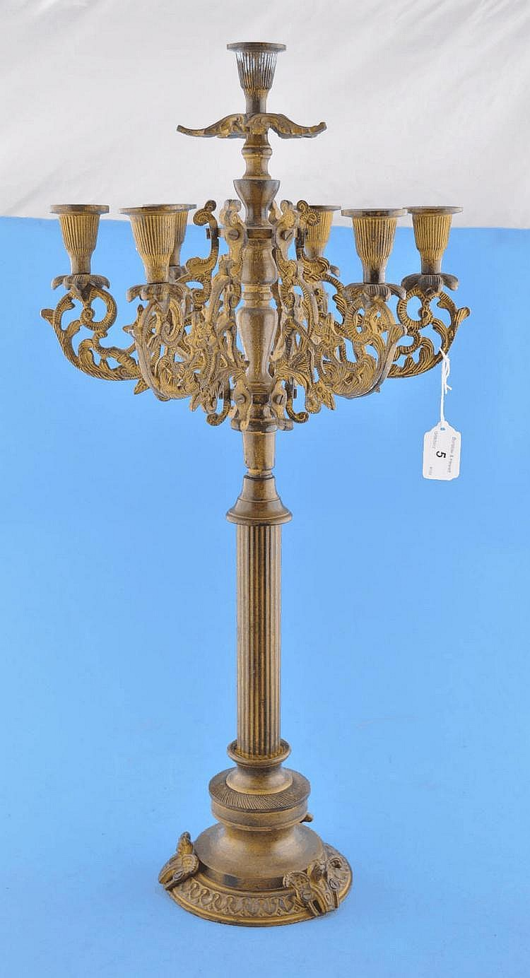 Ornate French gilt metal candelabrum, 25.25''