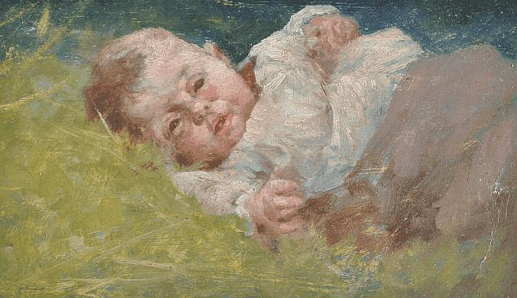 Robert McGregor RSA (1848-1922) oil on board, baby