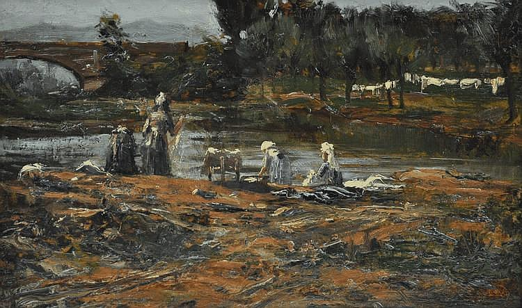 Georges Giraud oil on board, washer women on a