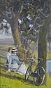 Oil on board, 2 lady cyclists resting on a