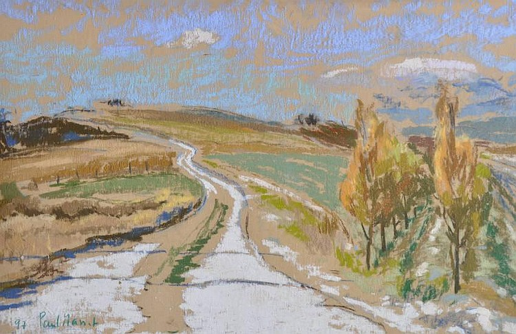 Paul Masset Coloured pastels, rural landscape,