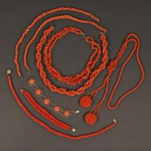 LOT OF ANTIQUE CORAL JEWELRY