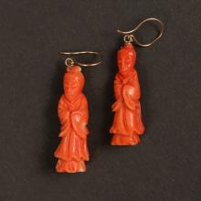 PAIR CHINESE ANTIQUE CORAL EARRINGS
