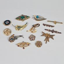 14 LADY'S ANTIQUE & VINTAGE PINS