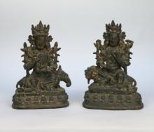 PAIR CHINESE BRONZE BUDDHIST DEITIES
