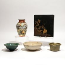 (5pc) JAPANESE CERAMICS & LACQUER
