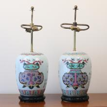 PAIR CHINESE FAMILLE ROSE JARS