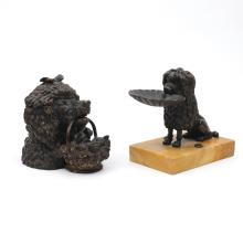 (2pc) BRONZE DOG INK STANDS