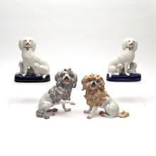(4pc) CONTINENTAL CERAMIC DOGS