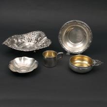 (5 pc) STERLING SILVER HOLLOWARE
