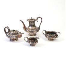 (4pc) GEORGIAN SILVER TEA & COFFEE SERVICE