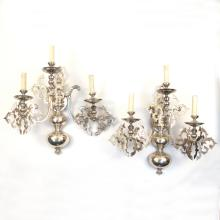 PAIR POLISHED PEWTER 3-LIGHT WALL SCONCES