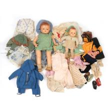 TWO VINTAGE DOLLS & CLOTHING