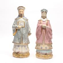 (2pc) MOLDED PORCELAIN FIGURES