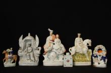 Royal Staffordshire Faience statues & plate 7pcs.
