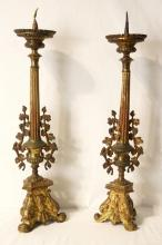 Antique Spanish Gilt bronze candelabras - pair