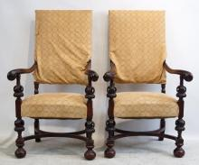 Pair 19th c. Spanish Wood carved arms chairs