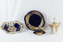 Porcelain cobalt & gold German bowls, cup & saucer