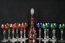 Bohemian cut to clear wine glasses set - 13