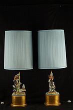 Pair bisque  lamps - birds & flowers