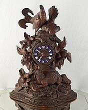 Antique French wood carved clock with enamel