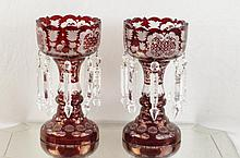 Pair of Bohemian etched ruby glass lusters