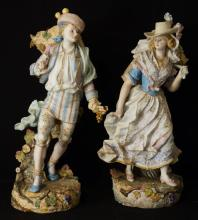 Pair Antique French porcelain figures -Man & Woman