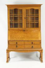 19th c. English Oak Drop front secretary/ bookcase