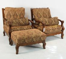 Pair of carved wood & Upholstered chairs w ottoman