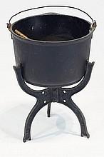 Antique Cast iron caldron w stand & ladle