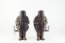 Antique andirons - cast iron Santa's