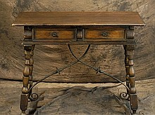 Spanish Revival desk with wrought iron