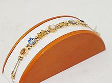 14kt y.g.  slide bracelet - garnet