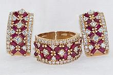 14kt 2.5ctw Ruby & 1ct Diamond ring & earrings