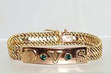14kt Italian( 585)  mens Gold & Emerald bracelet