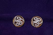 14kt y.g. Diamond Chanel style earrings round cut