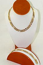 14kt Italian chain necklace and bracelet