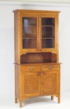 American Oak stepback cupboard - 2pc