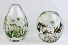 Antique Orrefors Fish Graal vases by Edward Hald