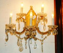 Pair Murano 3-light glass wall sconces w/crystals