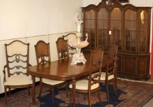 French Provincial walnut dining room set
